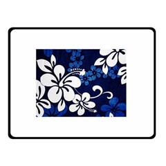 Blue Hibiscus Double Sided Fleece Blanket (Small)