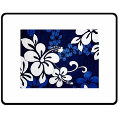 Blue Hibiscus Double Sided Fleece Blanket (Medium)
