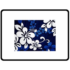 Blue Hibiscus Double Sided Fleece Blanket (Large)