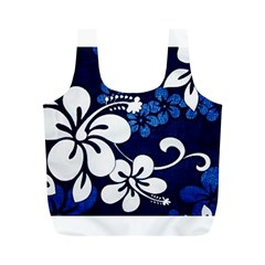 Blue Hibiscus Full Print Recycle Bags (M)