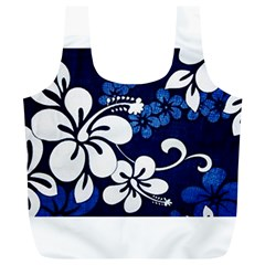 Blue Hibiscus Full Print Recycle Bags (L)