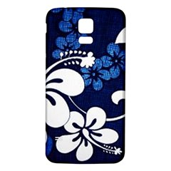 Blue Hibiscus Samsung Galaxy S5 Back Case (White)