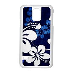 Blue Hibiscus Samsung Galaxy S5 Case (White)