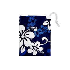 Blue Hibiscus Drawstring Pouches (Small)