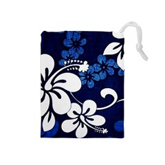 Blue Hibiscus Drawstring Pouches (Medium)