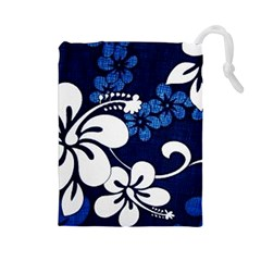 Blue Hibiscus Drawstring Pouches (Large)
