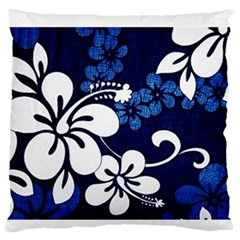Blue Hibiscus Standard Flano Cushion Case (One Side)