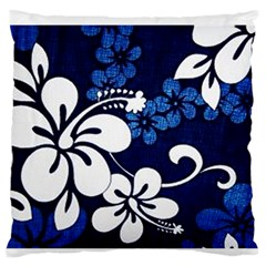 Blue Hibiscus Large Flano Cushion Case (One Side)