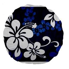 Blue Hibiscus Large 18  Premium Flano Round Cushions