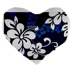 Blue Hibiscus Large 19  Premium Flano Heart Shape Cushions