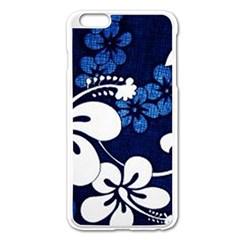 Blue Hibiscus Apple iPhone 6 Plus/6S Plus Enamel White Case