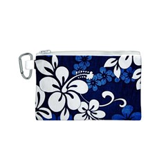 Blue Hibiscus Canvas Cosmetic Bag (S)
