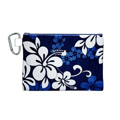Blue Hibiscus Canvas Cosmetic Bag (M)