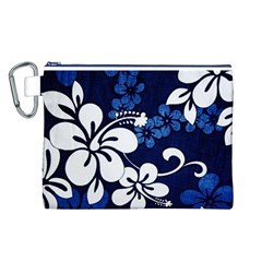 Blue Hibiscus Canvas Cosmetic Bag (L)