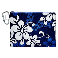 Blue Hibiscus Canvas Cosmetic Bag (XXL)
