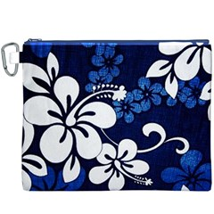 Blue Hibiscus Canvas Cosmetic Bag (XXXL)
