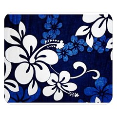 Blue Hibiscus Double Sided Flano Blanket (Small)