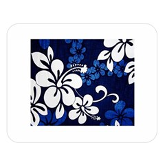 Blue Hibiscus Double Sided Flano Blanket (Large)