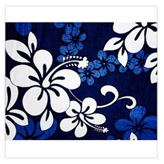 Blue Hibiscus Large Satin Scarf (Square)