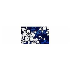 Blue Hibiscus Satin Scarf (Oblong)