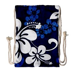 Blue Hibiscus Drawstring Bag (Large)