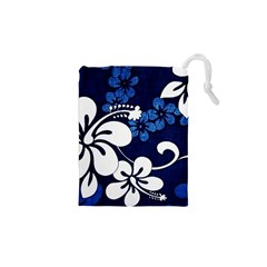 Blue Hibiscus Drawstring Pouches (XS)