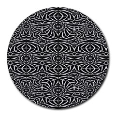 Black and White Tribal Pattern Round Mousepads