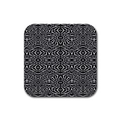 Black and White Tribal Pattern Rubber Square Coaster (4 pack)