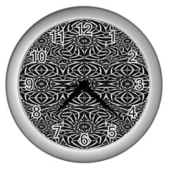 Black and White Tribal Pattern Wall Clocks (Silver)