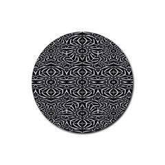 Black and White Tribal Pattern Rubber Coaster (Round)