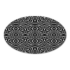 Black and White Tribal Pattern Oval Magnet
