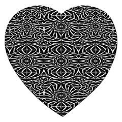 Black and White Tribal Pattern Jigsaw Puzzle (Heart)