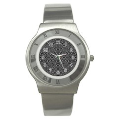 Black and White Tribal Pattern Stainless Steel Watch