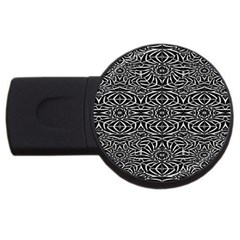 Black and White Tribal Pattern USB Flash Drive Round (4 GB)