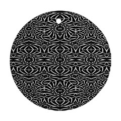 Black and White Tribal Pattern Round Ornament (Two Sides)
