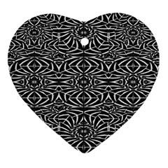 Black and White Tribal Pattern Heart Ornament (2 Sides)