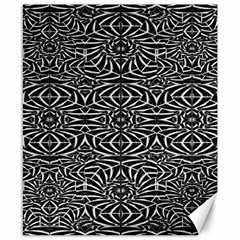 Black and White Tribal Pattern Canvas 8  x 10