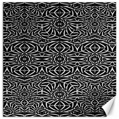 Black and White Tribal Pattern Canvas 12  x 12