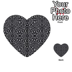 Black and White Tribal Pattern Multi-purpose Cards (Heart)