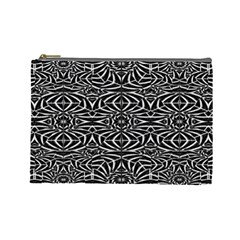 Black and White Tribal Pattern Cosmetic Bag (Large)