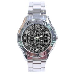 Black and White Tribal Pattern Stainless Steel Analogue Watch