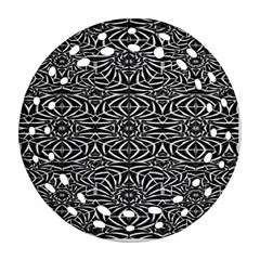 Black and White Tribal Pattern Round Filigree Ornament (2Side)