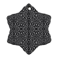 Black and White Tribal Pattern Snowflake Ornament (2-Side)