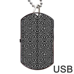 Black and White Tribal Pattern Dog Tag USB Flash (Two Sides)