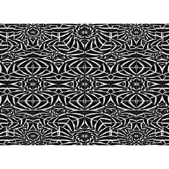 Black and White Tribal Pattern Birthday Cake 3D Greeting Card (7x5)