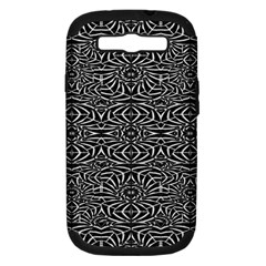 Black and White Tribal Pattern Samsung Galaxy S III Hardshell Case (PC+Silicone)