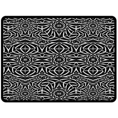 Black and White Tribal Pattern Double Sided Fleece Blanket (Large)