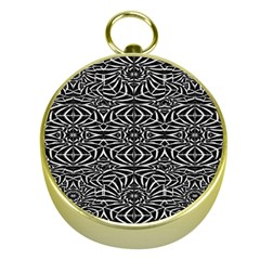 Black and White Tribal Pattern Gold Compasses