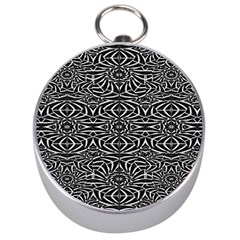 Black and White Tribal Pattern Silver Compasses