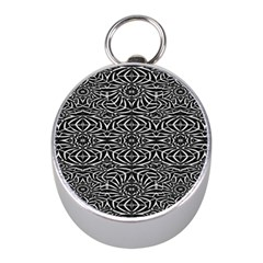 Black and White Tribal Pattern Mini Silver Compasses